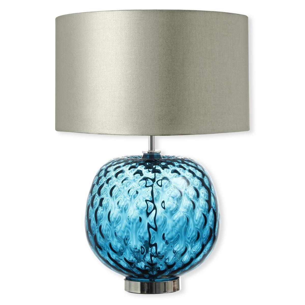 lampe en verre bleu avec abat jour argent 49cm bruno evrard. Black Bedroom Furniture Sets. Home Design Ideas