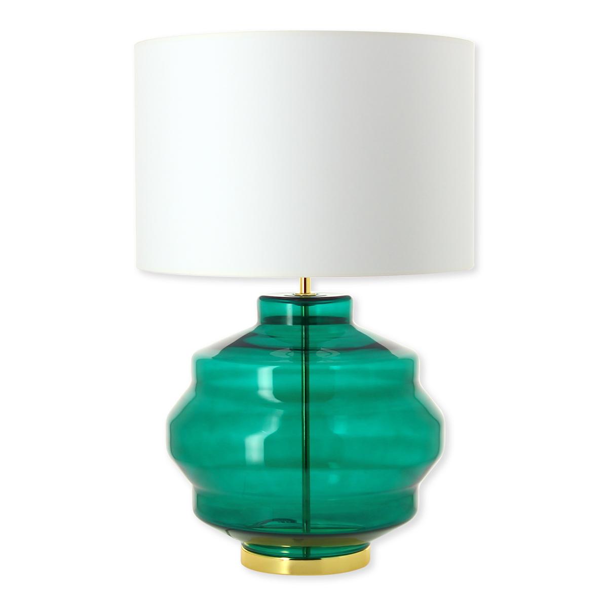 abat jour vert Lampe en verre vert émeraude avec abat-jour 58cm