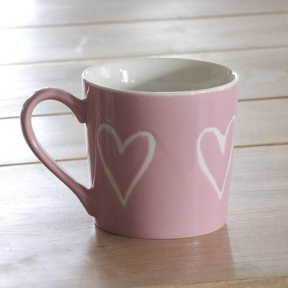 mug rose en porcelaine d cor coeur 35cl bruno evrard. Black Bedroom Furniture Sets. Home Design Ideas