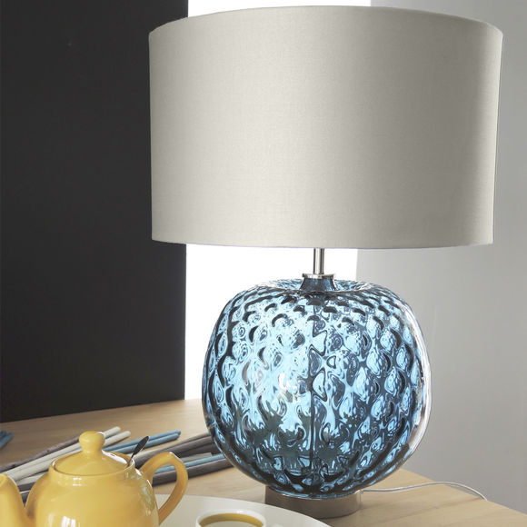 lampe en verre bleu avec abat jour argent 49cm bruno evrard. Black Bedroom Furniture Sets. Home Design Ideas
