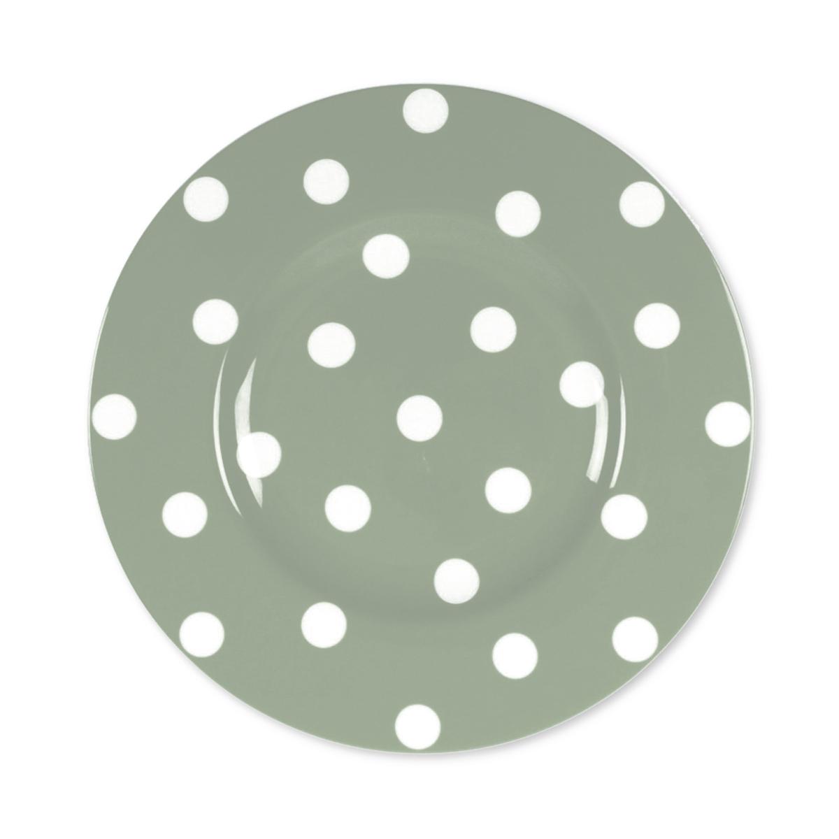 Code Couleur Vert Sauge assiette dessert à pois vert sauge en porcelaine 22cm
