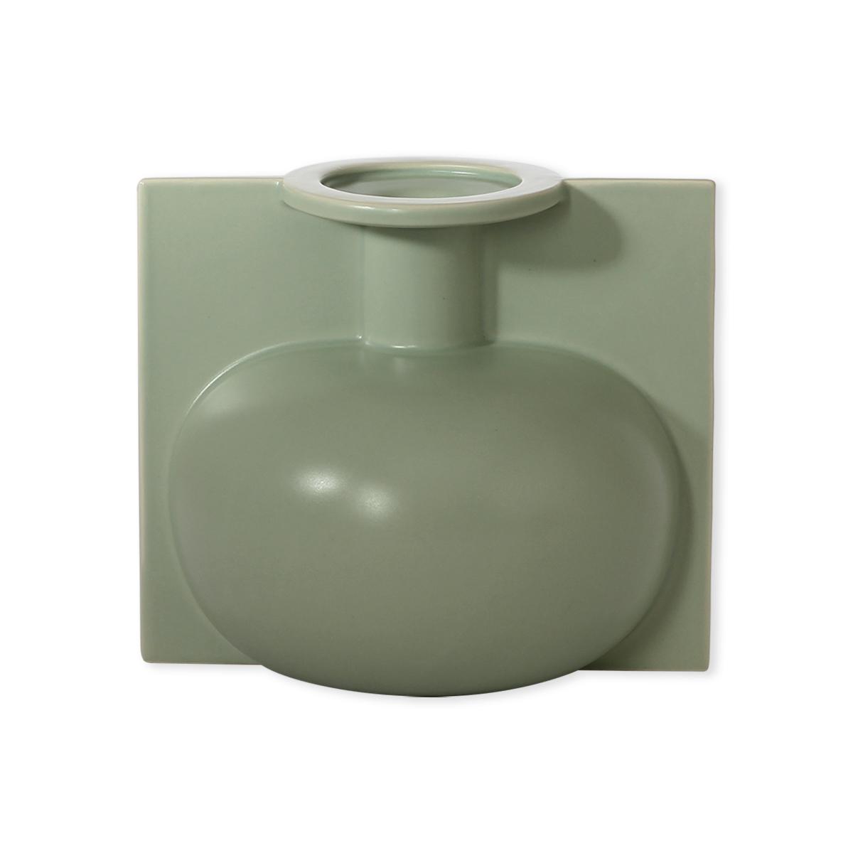 Esprit Art Deco Com vase vert en céramique 18cm